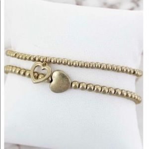 Gold Double Layered Bracelet with Heart Charms